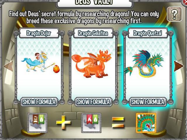 investigando formula para aparear dragon quetzal en la cripta de deus