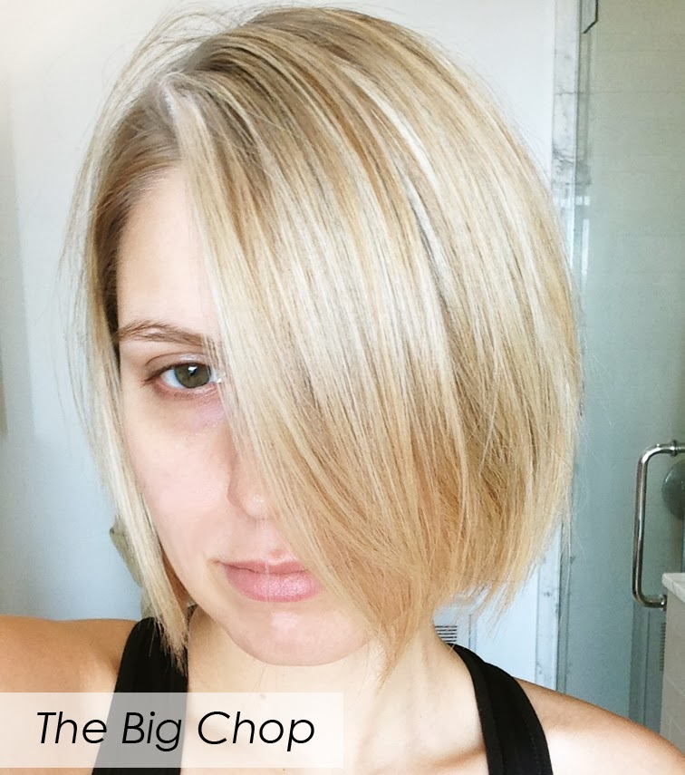 Blonde blond bob hair cut big chop green eyes