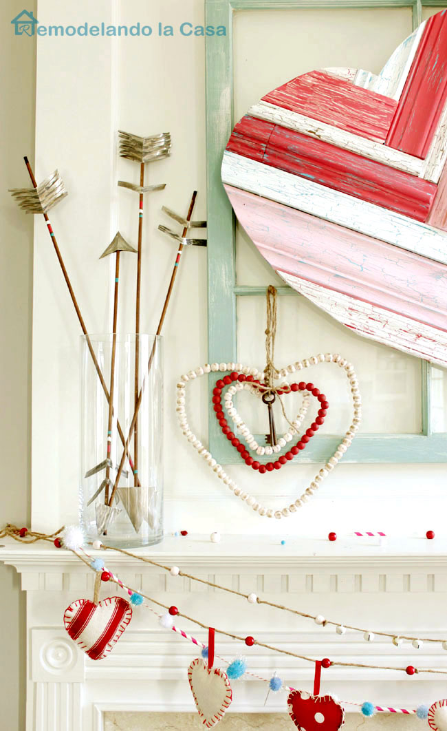arrows, beaded hearts and molding heart art valentine mantel