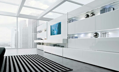White striking minimalist contemporary living spaces built ins 582x354