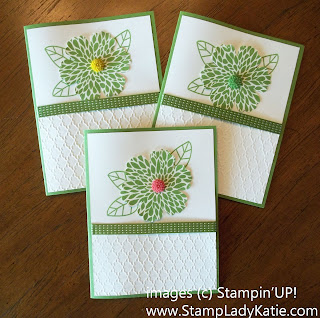"Card made with Stampin'UP! set, Betsy's Blossoms and the 3/8"" Satin Stitched Ribbon."