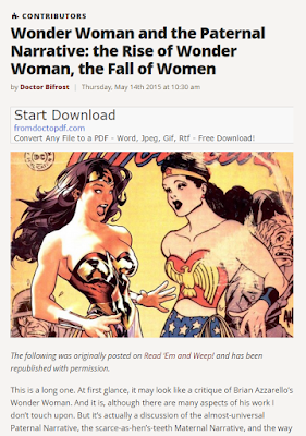 "Screen capture of the top of an article from Doctor Bifrost titled ""Wonder woman and the Paternal Narrative: The Rise of Wonder Woman, the Fall of Women"" from the 14 of May, 2015 found on The Mary Sue"