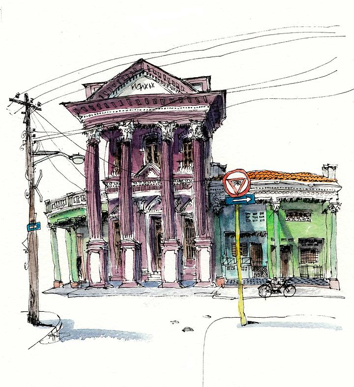 04-Cuba-Moron-Chris-Lee-Charming-Architectural-wobbly-Drawings-and-Paintings-www-designstack-co