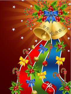 華やかなクリスマス・ベルとハンギング ボールの背景 christmas tree decorations background イラスト素材1