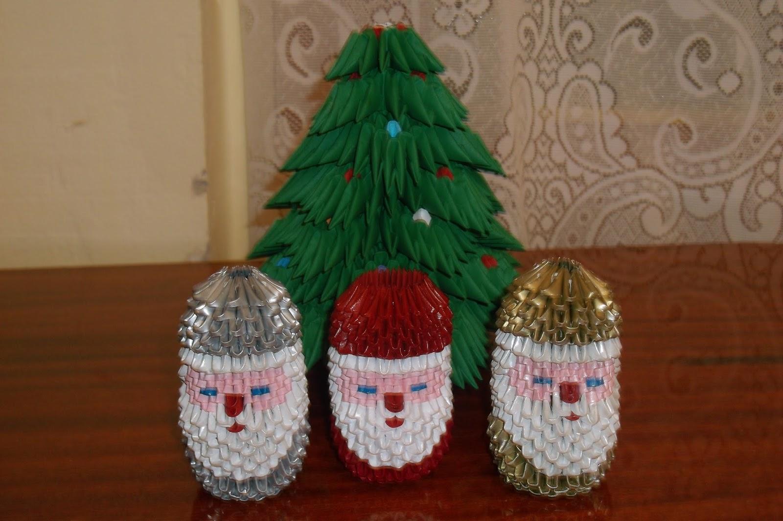 Razcapapercraft august 2015 3d origami christmas tree and small santa claus jeuxipadfo Choice Image