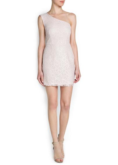 asimetrik kesim krem elbise