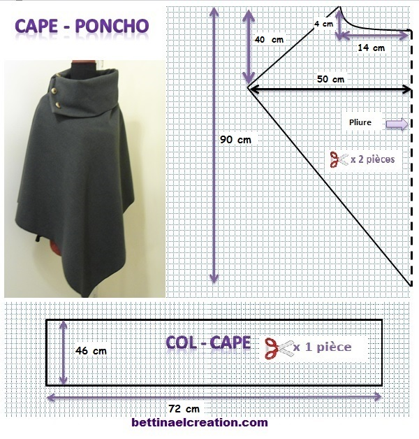 Super DIY: Cape/ Poncho, tutoriel couture gratuit Bettinael.Passion  IB62