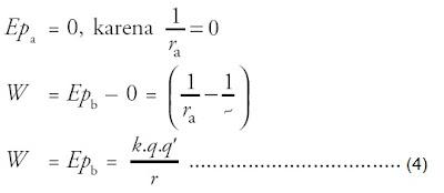 usaha apabila muatan +q' dipindahkan dari tempat yang jauh tak terhingga ke suatu titik b
