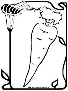 gambar wortel hitam putih