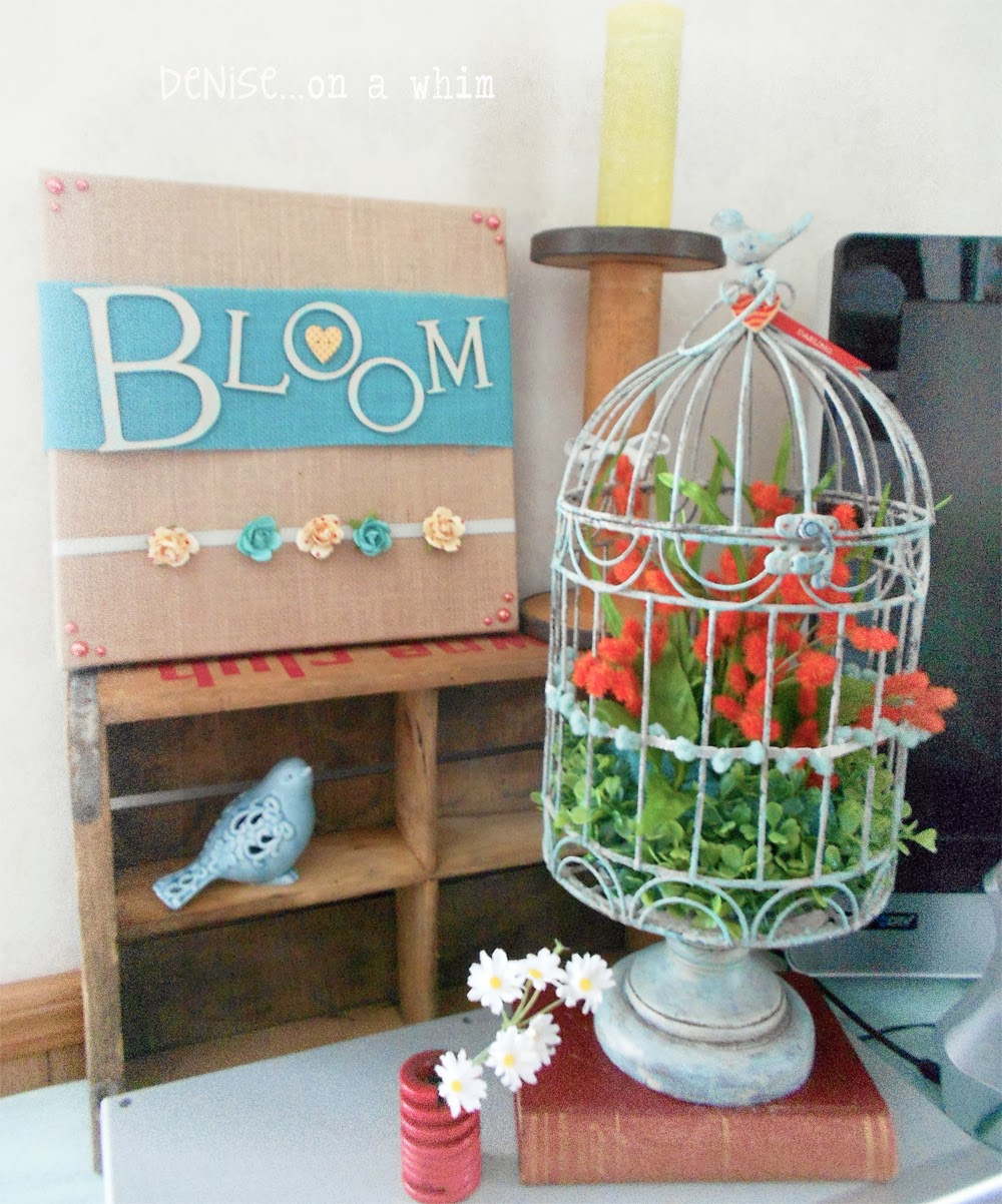 Spring Birdcage and Bloom Burlap Canvas via http://deniseonawhim.blogspot.com