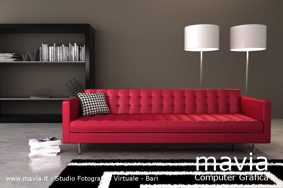 arredamento di interni divani divano rosso in pelle ed in