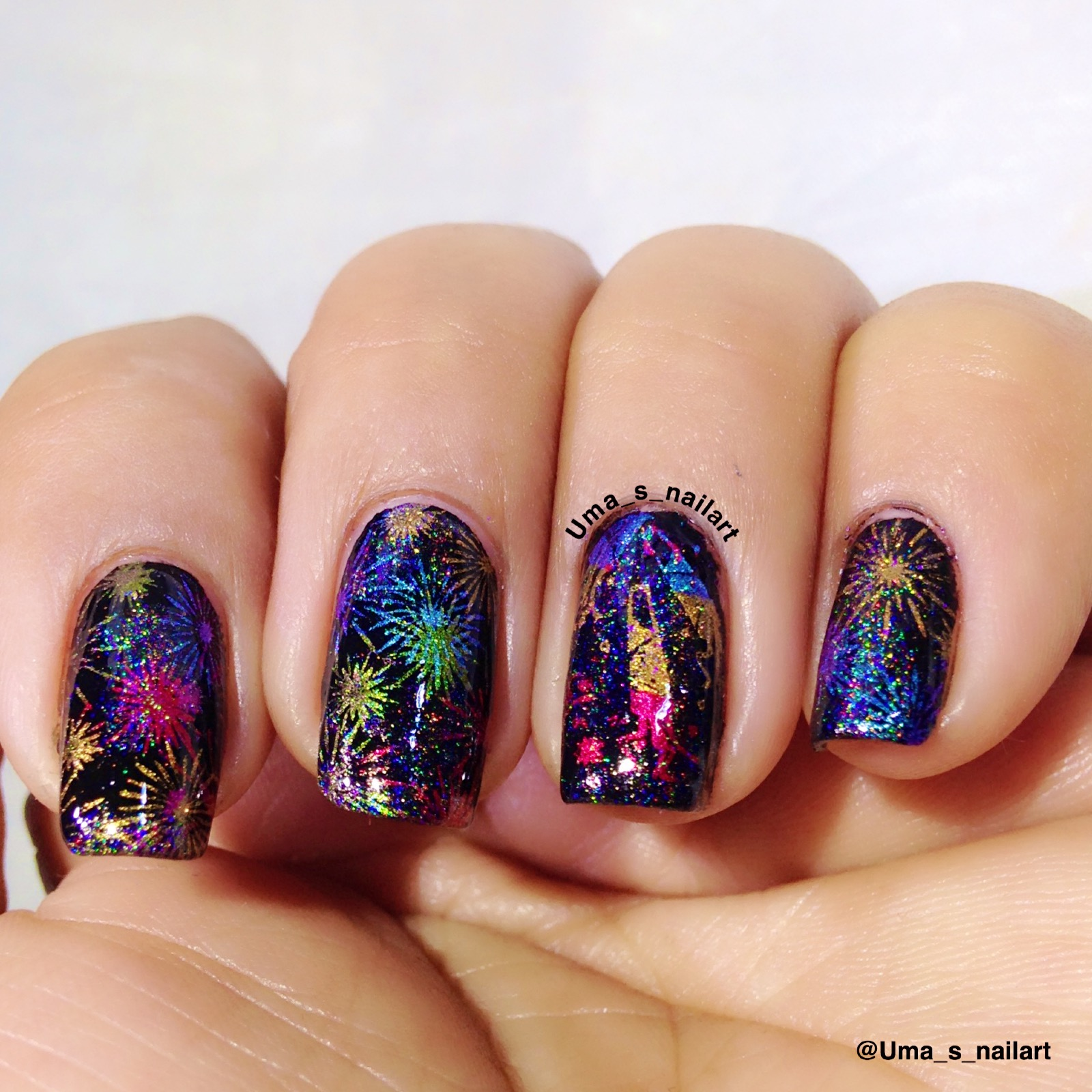 Umas nail art fireworks nails the black polish for the base is dance legend margarita stamping polishes are el corazon chrome polish 232728 and 32 fireworks and confetti images prinsesfo Gallery
