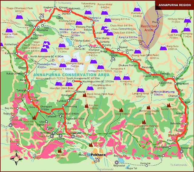 Annapurna area trekking map