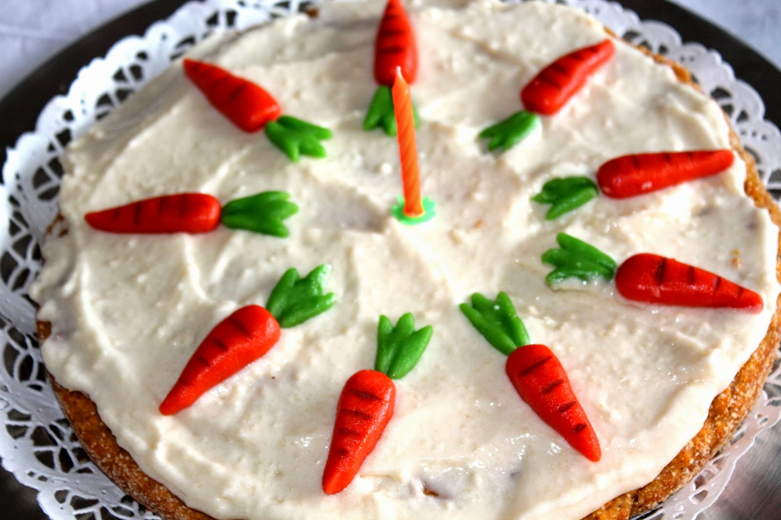 carrot cake with marzipan decorations