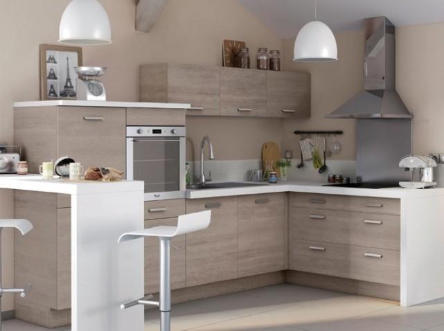 Meuble de cuisine en bois meuble cuisine gris et bois - Meuble de cuisine en bois pas cher ...