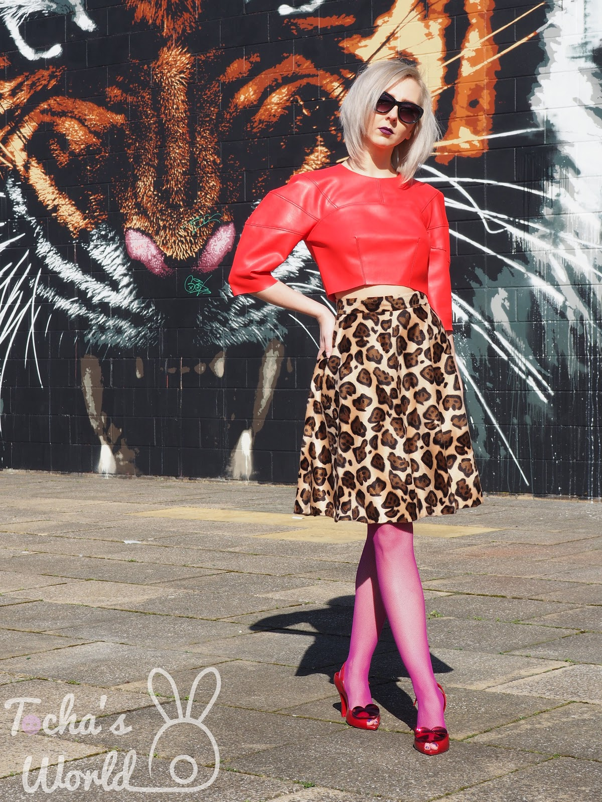 Glasgow, street art, armadillo, lobster, vegan, fashion, pattern cutting, leatherette, animal print, faux fur, Remnant Kings, Melissa, Vivienne Westwood, heart, red, zip, semi circle, skirt, top, spring,