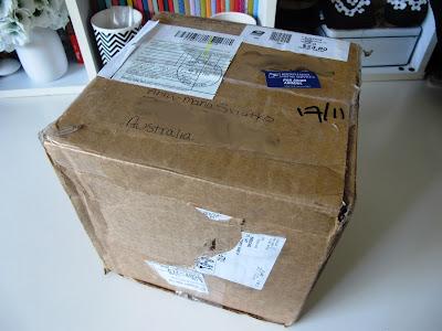 Cardboard box sent through the post.