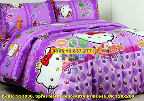Sprei Motif Hello Kitty Princess Uk 120x200