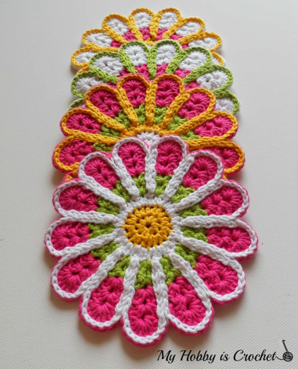 Free Crochet Pattern For Coaster : My Hobby Is Crochet: Chrysanthemum / Flower Coaster ? Free ...