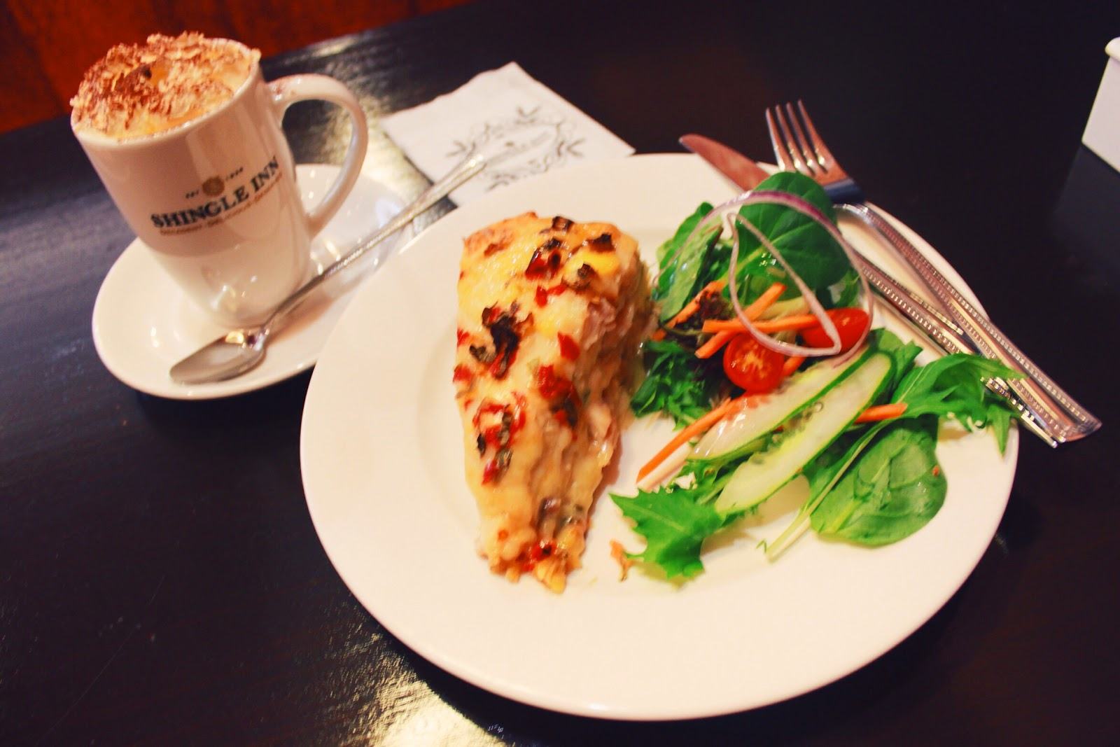 Thai Chicken Tortilla Stack & Vienna Coffee ; Shingle Inn Ocean Keys Shopping Centre @ Clarkson, Perth, Western Australia, Australia