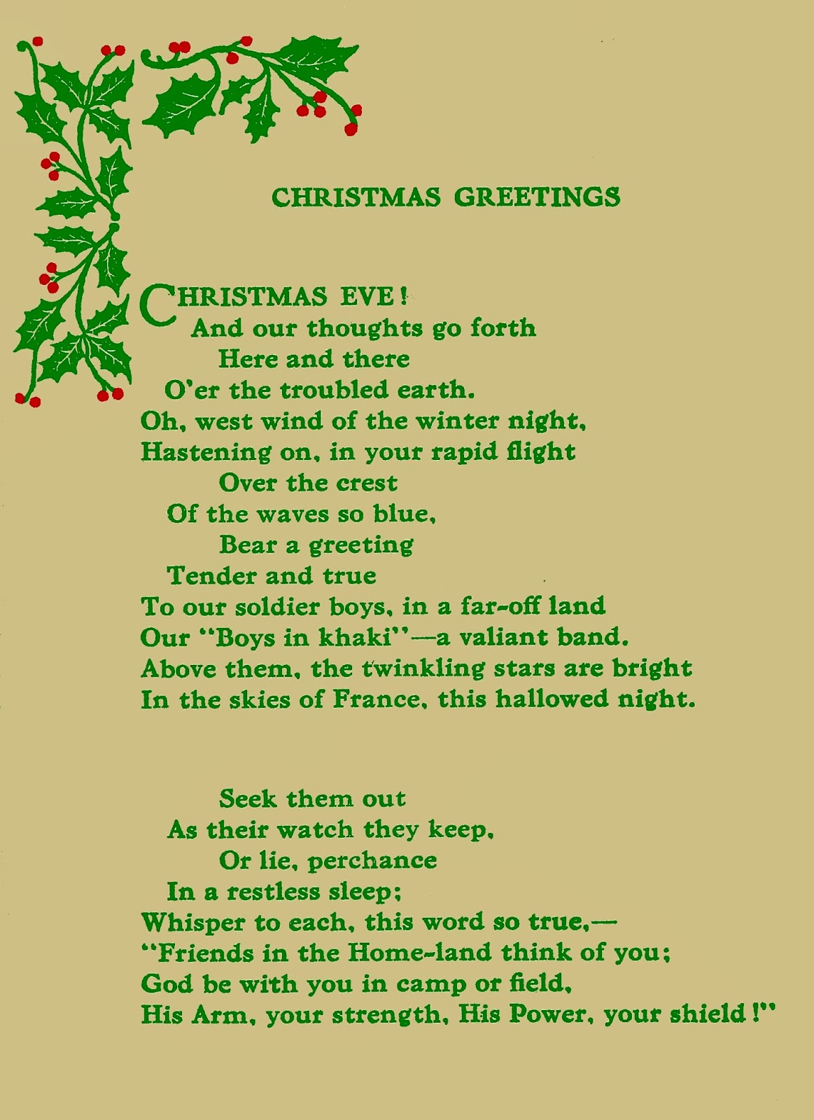 : Lovely vintage Christmas poem for those serving in the Armed Forces
