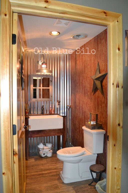 Old Blue Silo Barnhouse Tour Barn Inspired Half Bath - Barn light bathroom