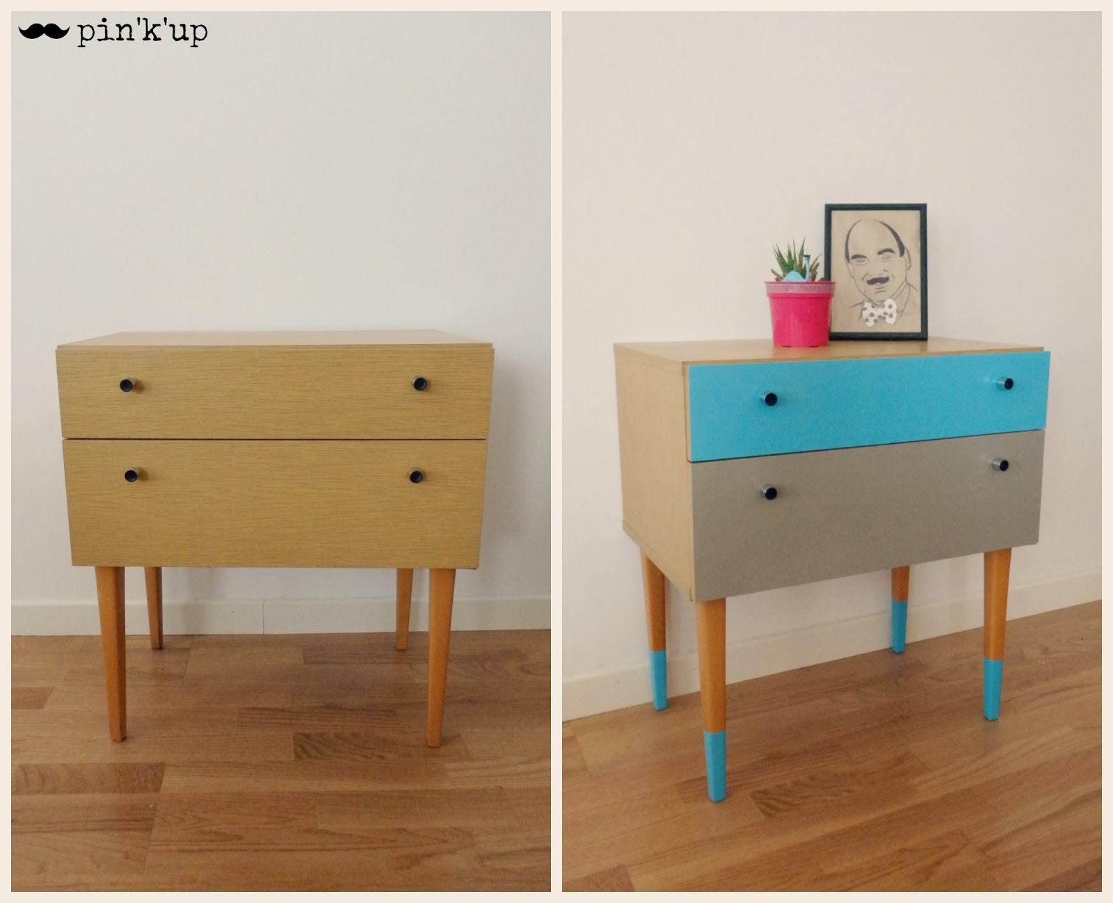 pin 39 k 39 up d co le petit meuble aux pieds bleus. Black Bedroom Furniture Sets. Home Design Ideas