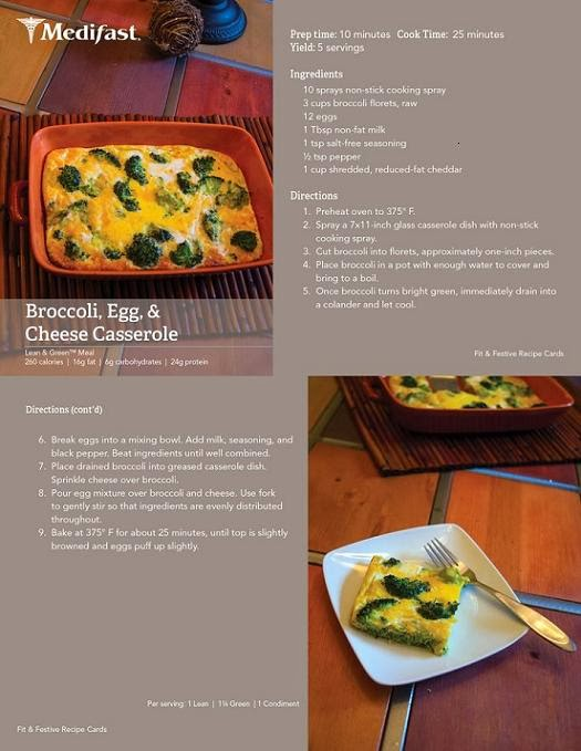 medifast Broccoli, Egg and Cheese Casserole