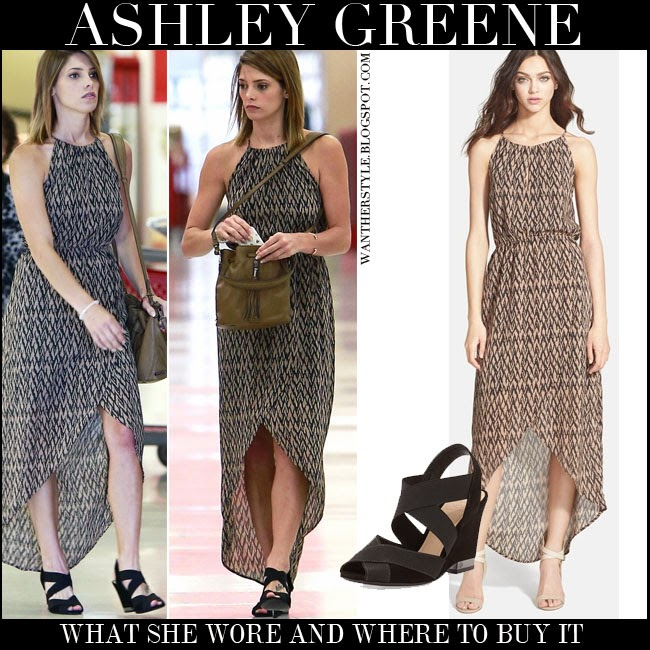 Ashley Greene in printed maxi dress Sanctuary with black strappy wedge sandals Tory Burch Debbie july 29 2014 want her style