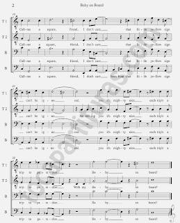 2 Baby on Board Partitura de Cuarteto para Flauta, Violín, Saxofón Alto, Trompeta, Oboe, Clarinete, Saxo Tenor, Soprano Sax, Trombón, Fliscorno, Violonchelo, Fagot, Barítono, Bombardino, Trompa, Tuba Elicón y Corno Inglés. Sheet Music for Bebé a Bordo de Homer Simpson