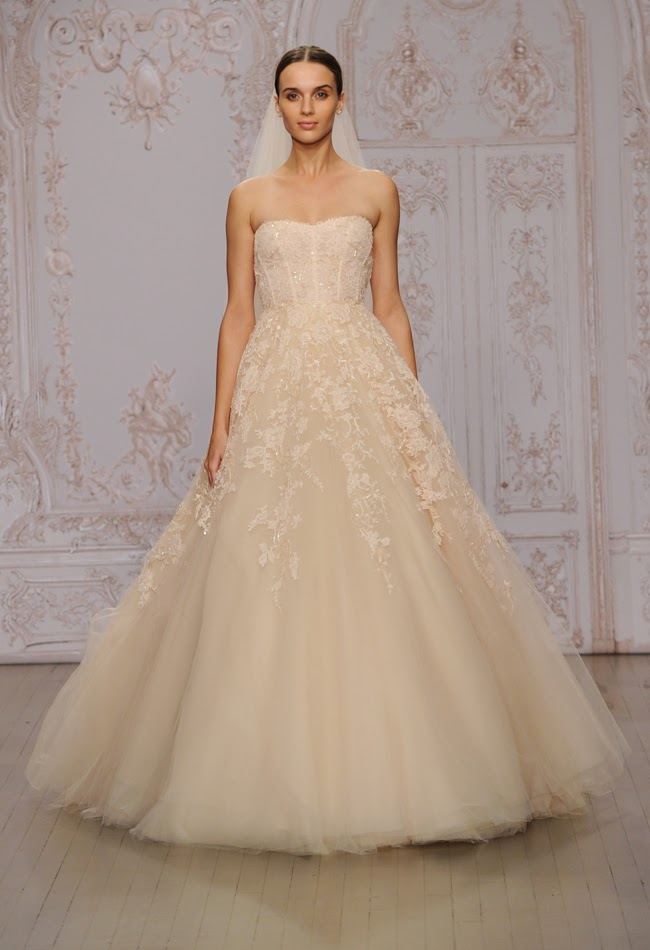 Bridal magic monique lhuillier spring fall 2015 wedding for Monique lhuillier pink wedding dress