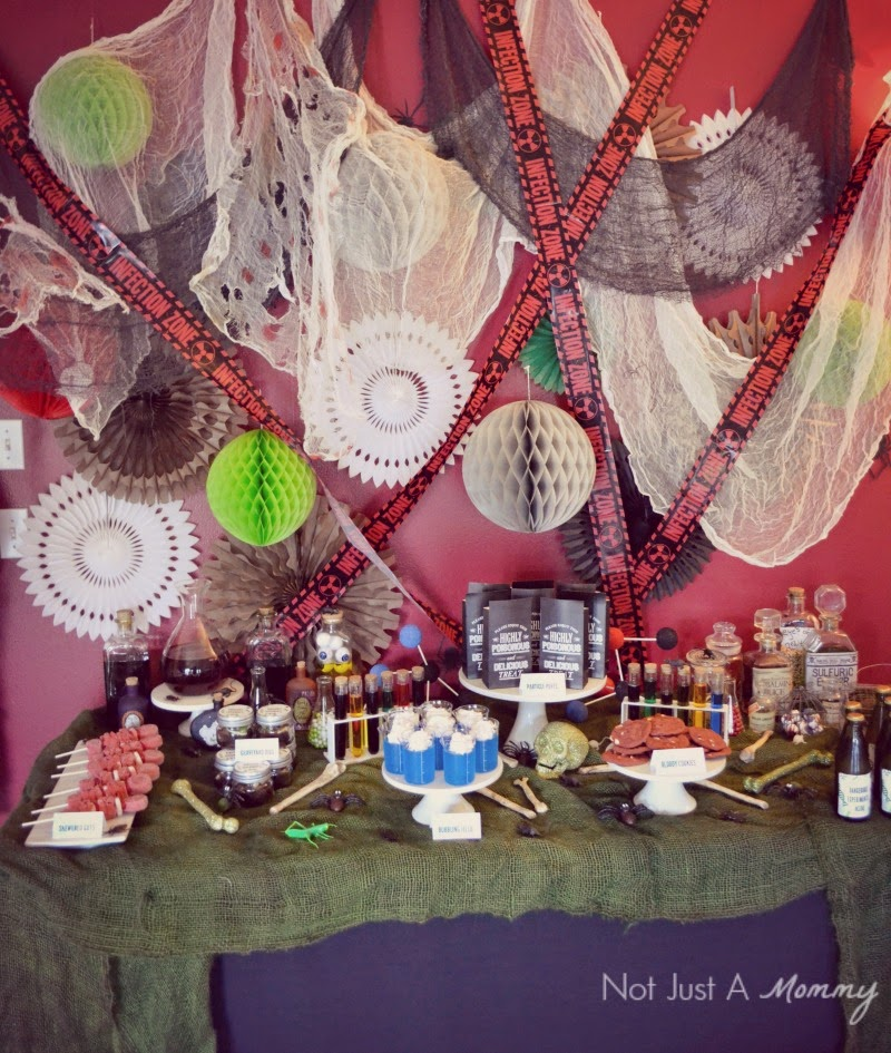 Mad Scientist's Lab Halloween party table