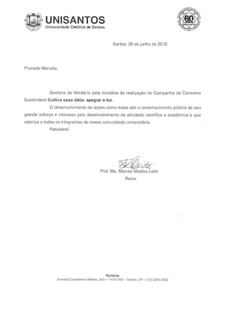 CARTA DE RECONHECIMENTO ENCAMINHADA PELO REITOR DA UNISANTOS PARA MARCELO GIL / 2012