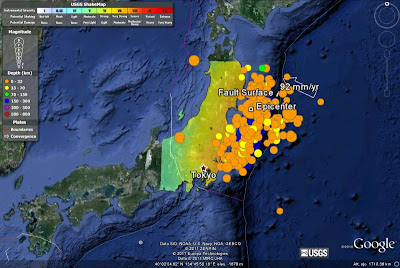 Geolocalización en Google Earth del terremoto de Japón del 11/3/2011