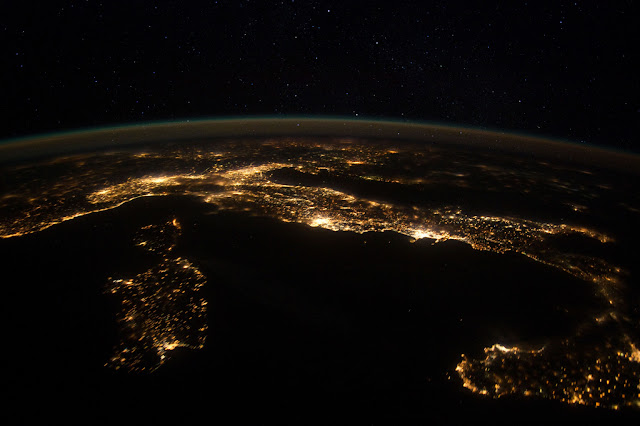 Satellite photo of western Italy and southern Europe as seen from space