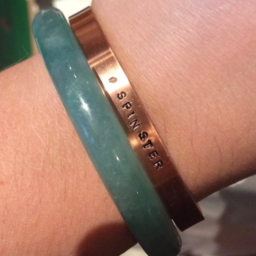 copper-bracelet, letterpress-bracelet, engraved-bracelet, spinster-jewelry