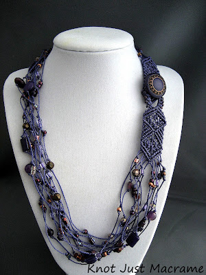 Multi strand macrame necklace in purple by sherri stokey of knot just macrame