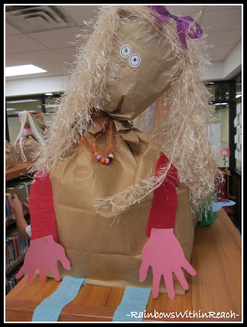 "photo of: Self portrait sculptures from paper bags. Preschool project ""All About Me"""
