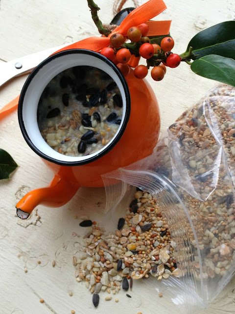 vintage enamel teapot homemade bird feeder