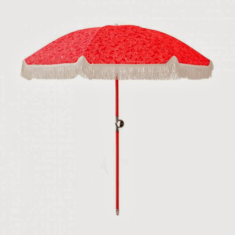 Basil Bangs Princess and the Pea Beach Umbrella - Red Fringe