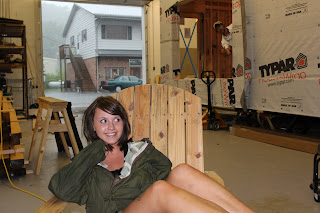 Jen takes a break in one of the makeshift chairs!