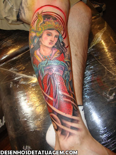 Tatuagem de Gueixa masculina