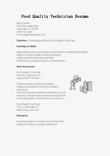 great sample resume resume samples food quality technician