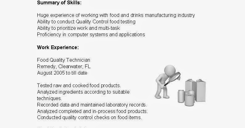 resume samples  food quality technician resume sample