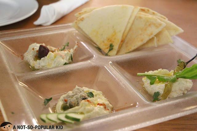 Dip sampler of Cyma Greek Cuisine