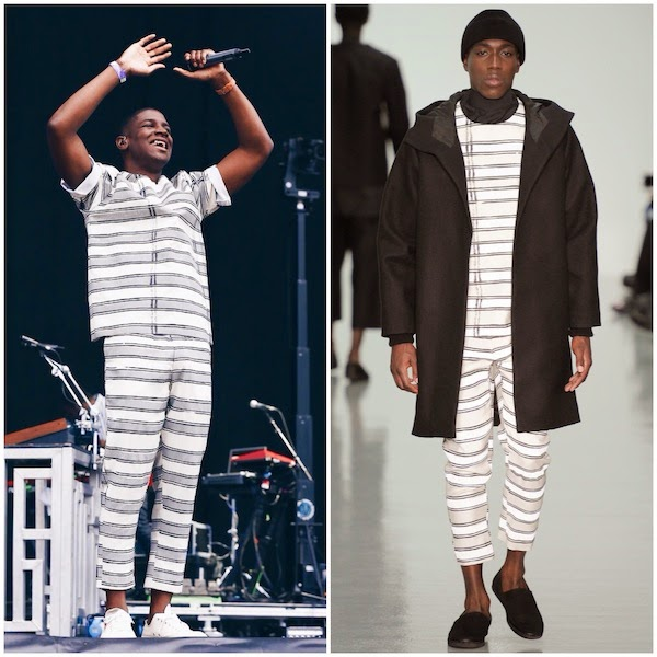 Labrinth in Agi & Sam horizontal stripes shirt trousers at Wireless Festival 2014