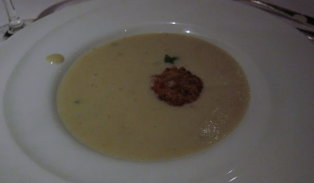 Potato-Leek Soup with Creme Fraiche, Salmon-Crab Fritter and Bacon