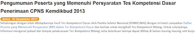 Pengumuman Hasil Tes TKD CPNS Kemendikbud 16 Desember 2013