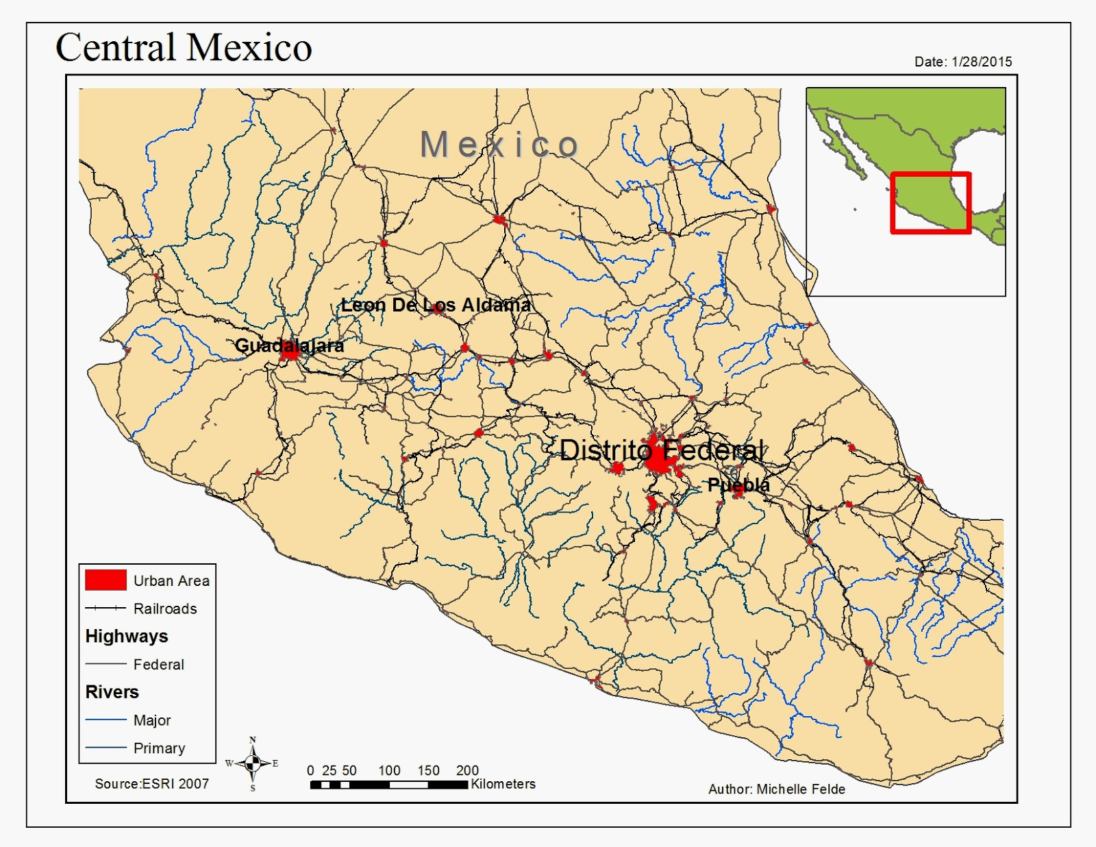one of the maps created was to display the various roads railroads and rivers in mexico with the urban areas the symbology was adjusted to show a clear