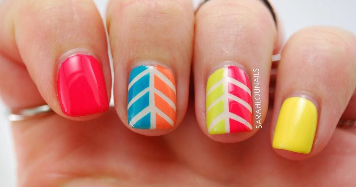 sarah lou nails multicolor herringbone